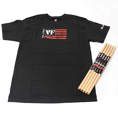 Vic Firth Value Pack 5 Pairs American Classic 5A + T-Shirt L