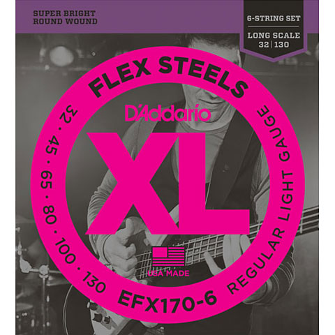 D'Addario EFX170-6 Flex Steels .032-130