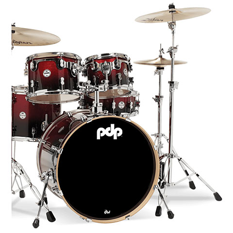 pdp Concept Maple CM5 Red to Black Sparkle Fade